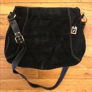 Fendi black suede crossbody bag